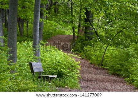 Spring Path A hiking trail winds it's way through the spring woods at The Morton Arboretum in Lisle, Illinois. - stock photo
