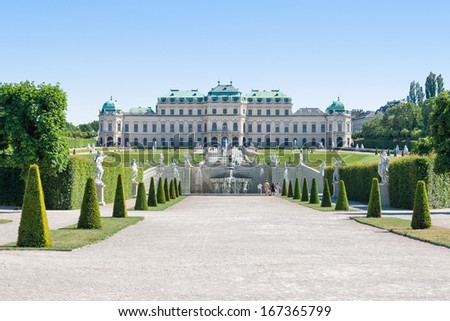 Spring photo of the Belvedere Castle in Vienna - stock photo