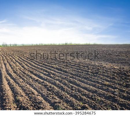 spring plough land scene - stock photo