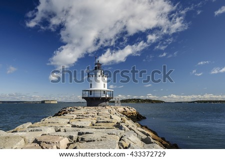 Spring Point Ledge Light Lighthouse in Portland, Maine, New England, USA