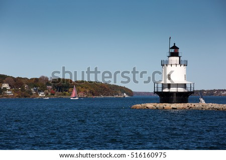 Spring Point Ledge Lighthouse is located in South Portland, Maine.
