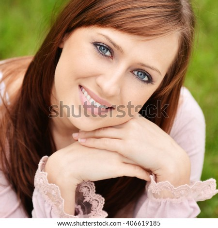Spring portrait of beautiful caucasian girl - stock photo