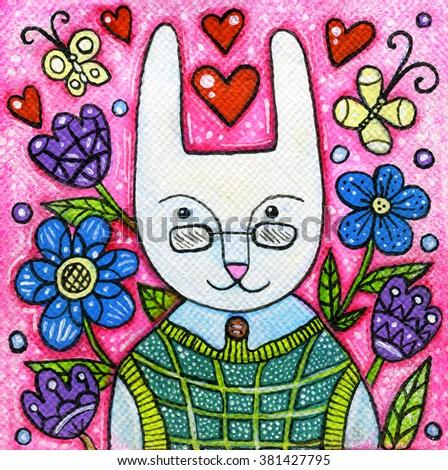 Spring rabbit portrait acrylic illustration. Acrylic painting. Illustration for children.Easter card. - stock photo