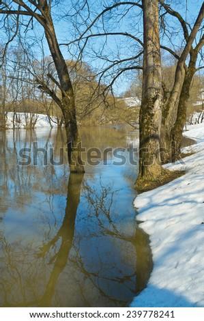 Spring. River Luzha, Kaluga region, Russia - stock photo