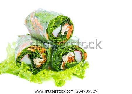 Spring rolls and salad  - stock photo