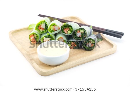 Spring rolls and salad