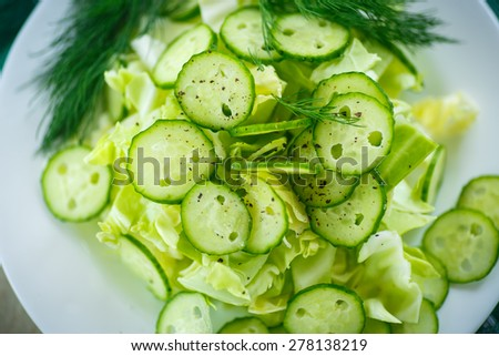 spring salad with cabbage and cucumbers in a plate - stock photo