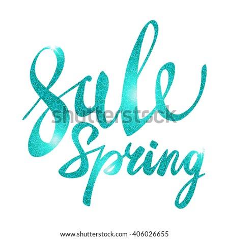 Spring Sale. blue inscription paint. glitz, glamor, light, shine, discounts, art - stock photo