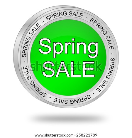 spring sale button - stock photo