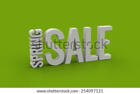 Spring sale 3d text on a green background - stock photo