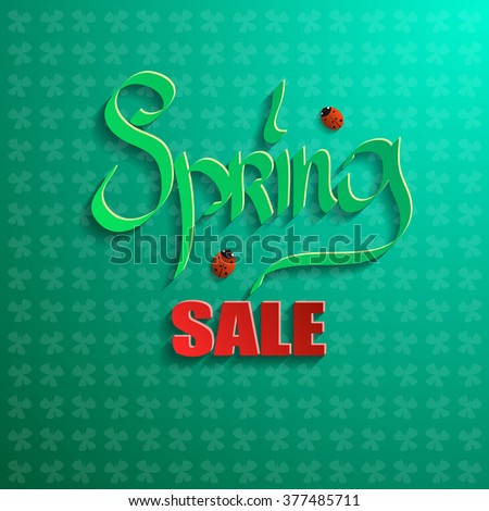 Spring sale on a green background