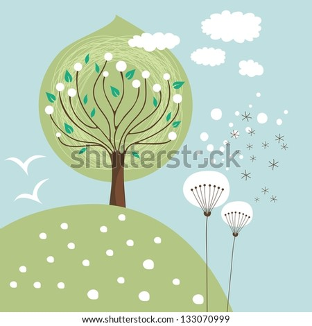 Spring scene illustration with flowers and tree - stock photo