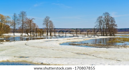 Spring scene. Sukhodrev river, Kaluga region, Russia - stock photo