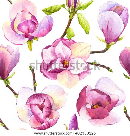 Spring seamless background with watercolor magnolias. Floral purple pattern with watercolor realistic flowers on white background for your design and decor.  - stock photo