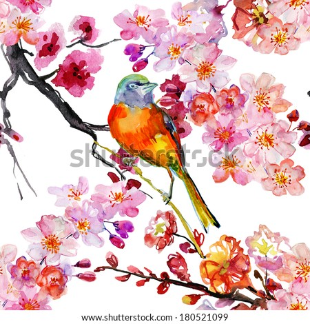 Spring seamless floral pattern with birds and blooming flowers - stock photo