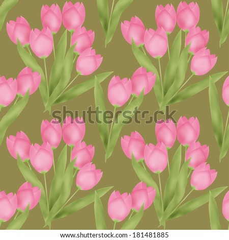 Spring seamless floral tulip pattern on green background