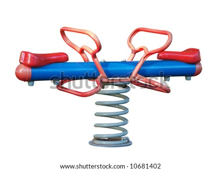 Spring See Saw isolated with clipping path - stock photo