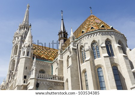 Spring shot of the Matthias Church, Budapest