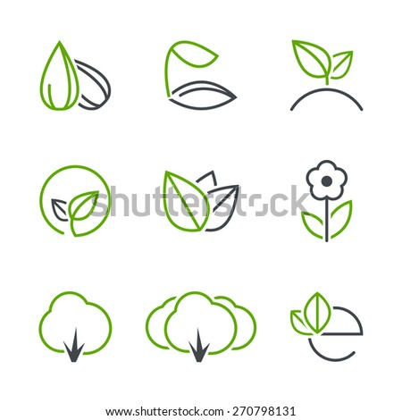 Spring simple icon set - seed, sprout, plant, leaf, flower, tree, forest, ecology - stock photo