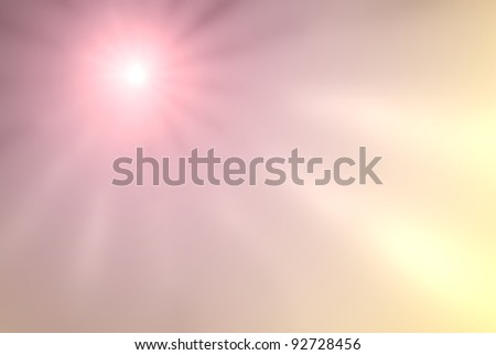 spring sky and sun beams - abstract blurred background with sunshine - stock photo
