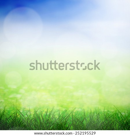 Spring sky with sunny field and growing grass - stock photo
