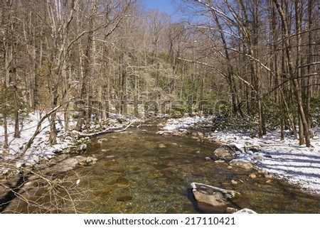 Spring Snow at Walnut Bottoms in the Smoky Mountains - stock photo