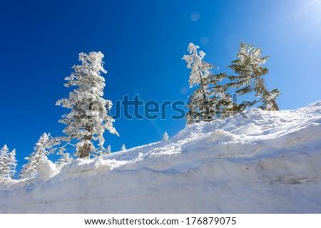 Spring snow mountain - stock photo