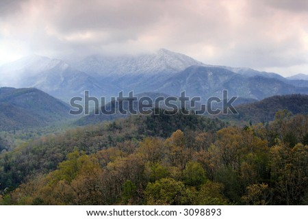 Spring Snowstorm near Gatlinburg Tennessee. Great Smoky Mountains National Park - stock photo