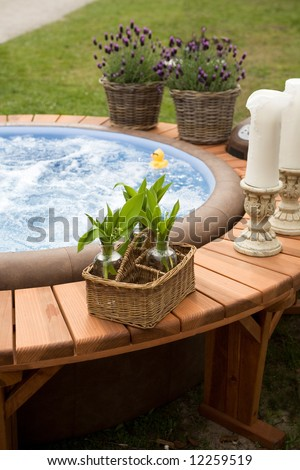 spring spa bath - stock photo