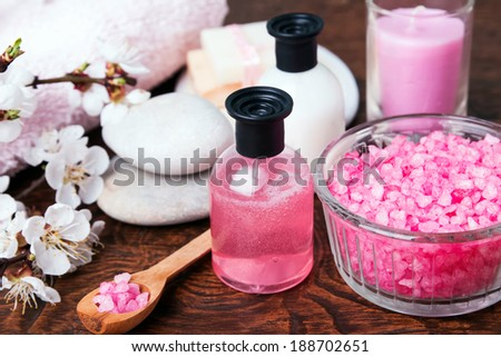 Spring spa still life in pink colors - stock photo