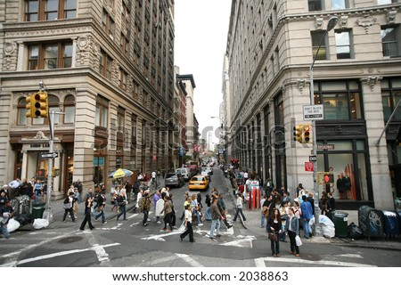 Spring st and Broadway - Manhattan,NY - stock photo