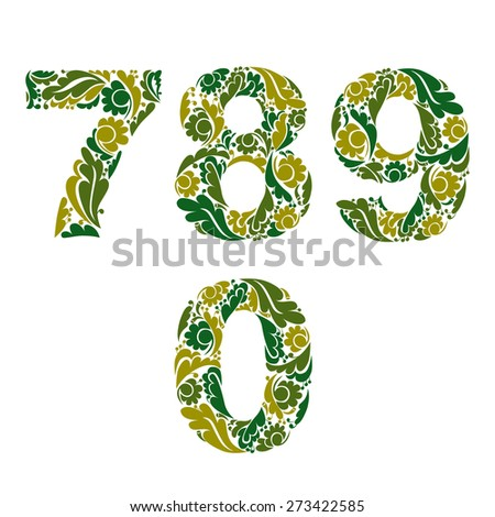 Spring style digits set, numbers with eco floral ornament. 7, 8, 9, 0. - stock photo