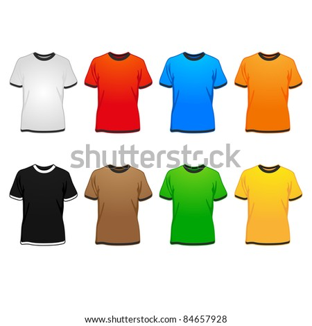 spring/summer/autumn t-shirts in different colors illustration