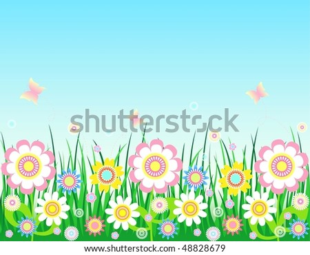 Spring-Summer background, all parts closed, editing is possible, floral background - stock photo