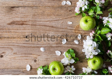 Spring Summer Background Wooden With Blossoms And Green Apples Rustic Style