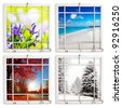 Spring, summer, fall and winter views through grungy window frames. Clipping paths for frames - stock photo