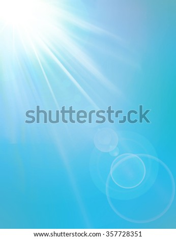 Spring summer sky and sunbeams. Crystal blue clear sky with lens flare effect. Sun beam light flare with beams and lens. Sparkling and shining lights flare. Light lensflare special effect backdrop. - stock photo
