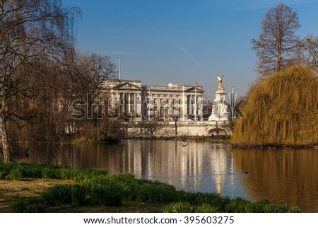 Spring sunny morning in Westminster, London - stock photo