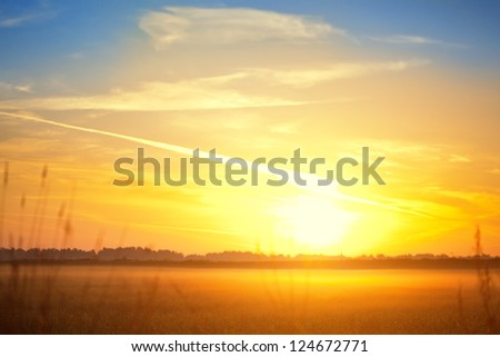 Spring sunset over the misty field - stock photo