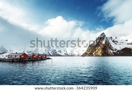 spring sunset - Reine, Lofoten islands, Norway - stock photo