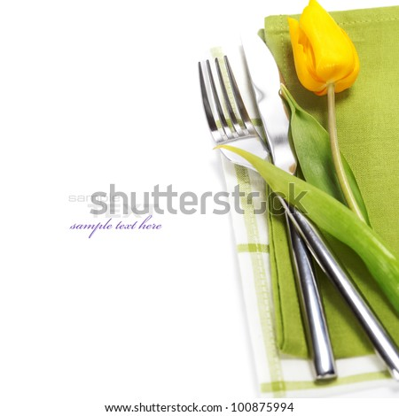 spring table settings with fresh tulip  (with easy removable text )
