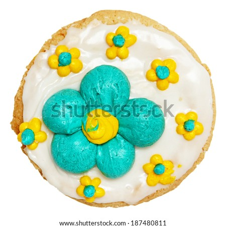 Spring Theme Frosted Cookie High Angle View Over White. - stock photo