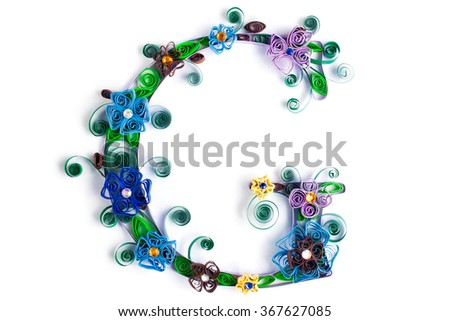 Spring theme quilling letter from quilling fonts collection - stock photo