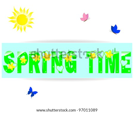 Spring time a label with yellow daffodils, the sun and butterflies. Raster version. - stock photo