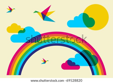 Spring time: full color humming birds, rainbow and clouds. Vector file available.