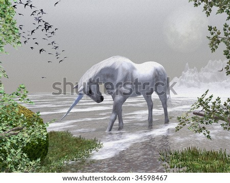 Spring time in the snow mountains , through the trees a Unicorn stands in the cold water and drinks. Illustration is textured - stock photo