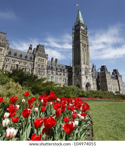 Spring Time On Parliament Hill Ottawa During The Spring Tulip Festival - stock photo