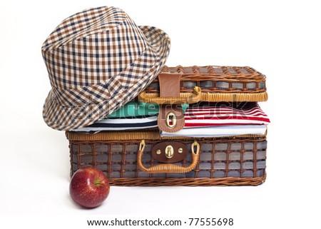 Spring travel suitcase - stock photo