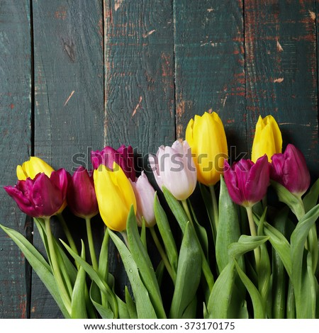 spring tulip bouquet on boards - stock photo