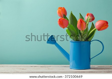 Spring tulip flower bouquet with copy space  - stock photo